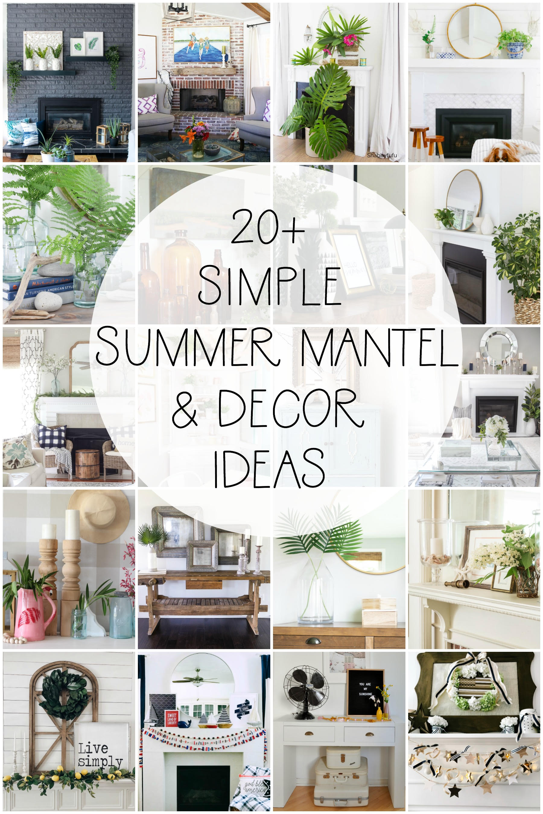 20 Summer Mantel Decor Ideas #summer #summermantel #summerdecor