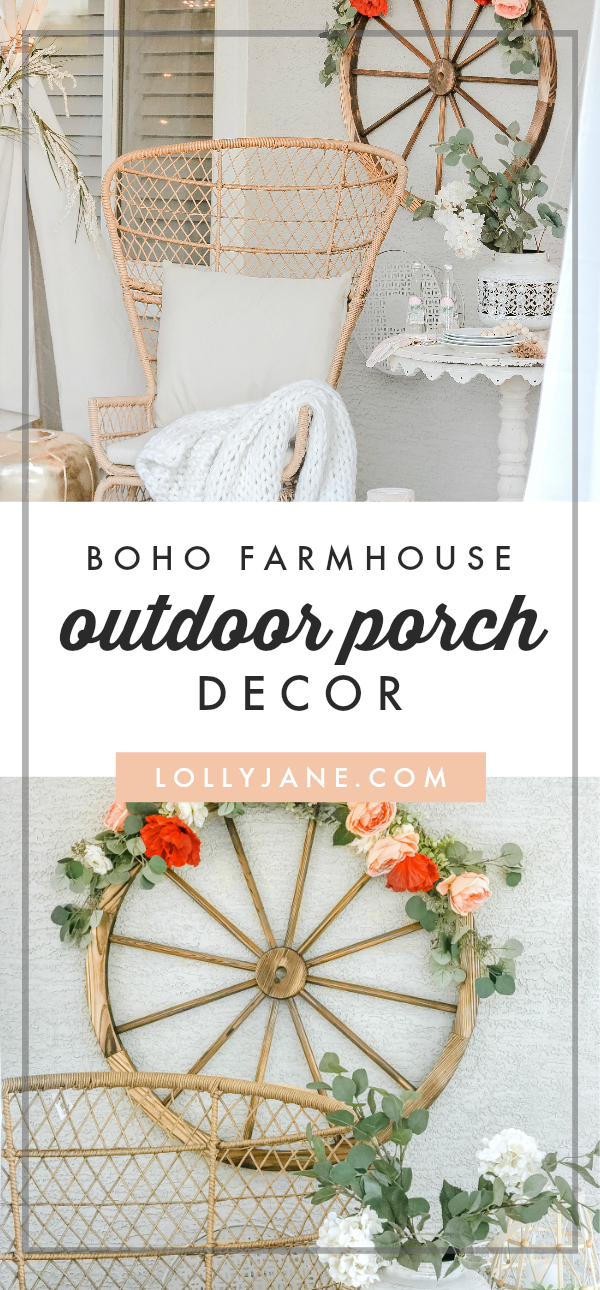 Oh myyy! Love this DARLING easy-to-copy Boho porch with a touch of Farmhouse! #farmhousestyle #boho #bohostyle #porch #patiodecor