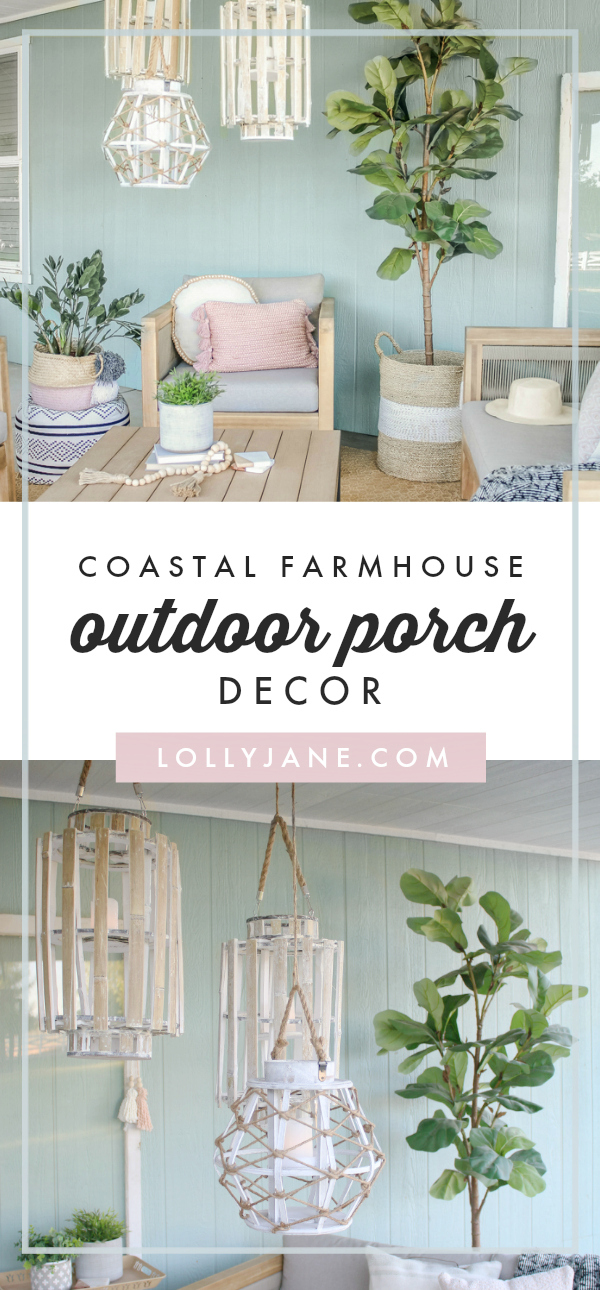 Oh myyy! Love this DARLING easy-to-copy Coastal porch with a touch of Farmhouse! #farmhousestyle #coastal #coastalstyle #porch #patiodecor