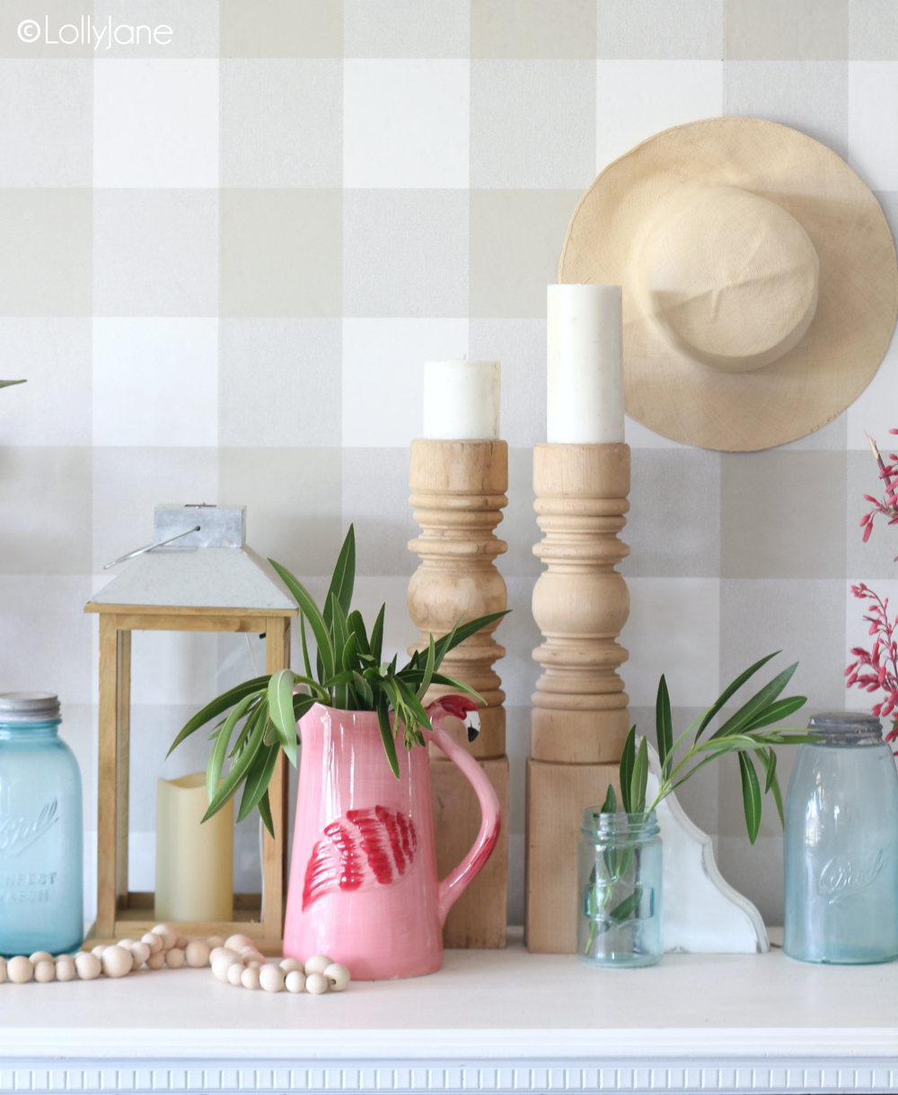 Ideas for how to decorate a simple summer mantel! #summer #summermantel #summerdecor