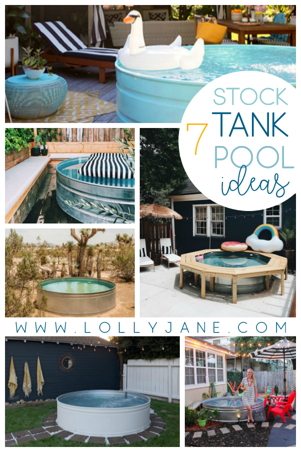 7 DIY Stock Tank Pool ideas to keep you cool all summer long. Such an easy to make pool idea using a stock tank, trendy summer decor alert! #stocktank #diystocktank #stocktankpool #summerideas #waystcooldown #thingstobuild