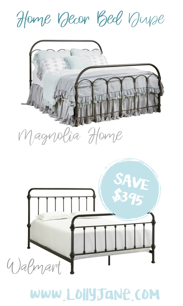 Save nearly $400 with this cute Walmart metal bed compared to Magnolia Home's expensive bed! Love this farmhouse bed frame, such a cute fixer upper style bed for less! #beddupe #fixerupper #magnoliastyle #magnoliahome #walmartfinds #blackbed #farmhousedecor