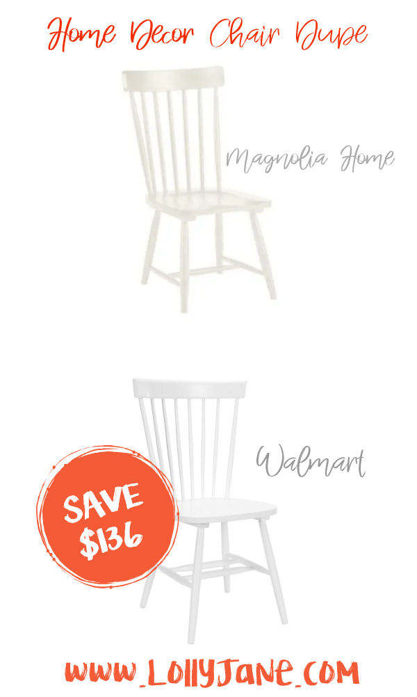 Save over $130 with these cute Walmart chairs compared to Magnolia Home's expensive dining room spindle chairs! Love these farmhouse chairs, such cute fixer upper style dining chairs for less! #chairdupe #fixerupper #magnoliastyle #magnoliahome #walmartfinds #farmhousechair #farmhousedecor