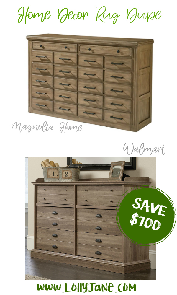 Save over $700 with this cute Walmart dresser compared to Magnolia Home's expensive dresser! Love this farmhouse dresser, such a cute fixer upper style dresser for less! #dresserdupe #fixerupper #magnoliastyle #magnoliahome #walmartfinds #farmhousedresser #farmhousedecor