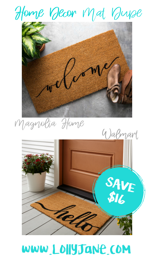 Save over $16 with this cute Walmart front door mat compared to Magnolia Home's more expensive mat! Love this farmhouse mat, such a cute fixer upper style mat for less! #matdupe #fixerupper #magnoliastyle #magnoliahome #walmartfinds #farmhousemat #farmhousedecor