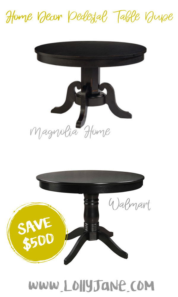 Save over $500 with this cute Walmart pedestal table compared to Magnolia Home's expensive dining table! Love this farmhouse pedestal table, such a cute fixer upper style table for less! #pedestaltabledupe #fixerupper #magnoliastyle #magnoliahome #walmartfinds #farmhousepedestaltable #farmhousedecor