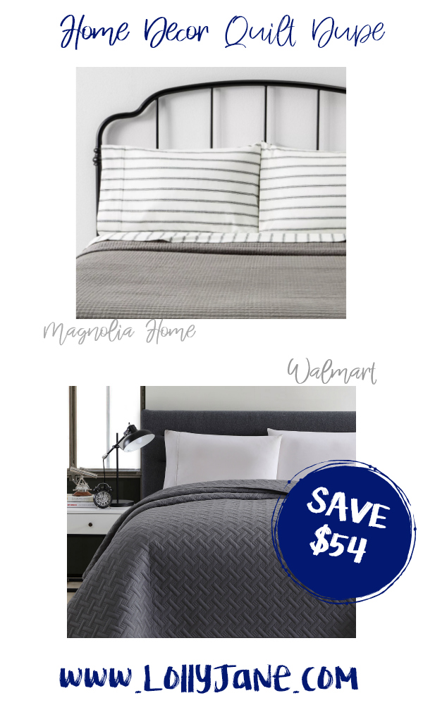 Save over $54 with this cozy Walmart quilt compared to Magnolia Home's expensive bedding! Love this farmhouse quilt, such a cute fixer upper style quilt for less! #quiltdupe #fixerupper #magnoliastyle #magnoliahome #walmartfinds #farmhousequilt #farmhousedecor