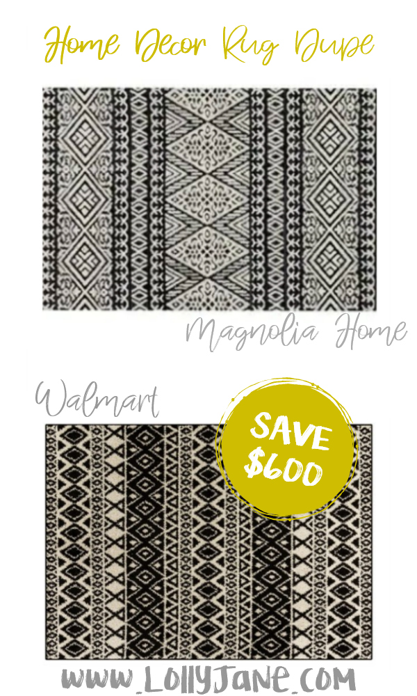 Save over $600 with this cute Walmart tribal rug compared to Magnolia Home's expensive area rug! Love this farmhouse rug, such a cute fixer upper style rug for less! #rugdupe #fixerupper #magnoliastyle #magnoliahome #walmartfinds #blackwhiterug #farmhousedecor