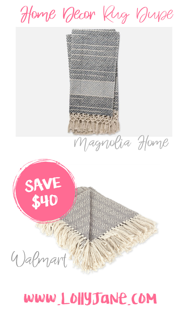 Save a quick $40 with this cute Walmart throw compared to Magnolia Home's pricey farmhouse blanket! Love this farmhouse throw, such a cute fixer upper style throw for less! #throwdupe #fixerupper #magnoliastyle #magnoliahome #walmartfinds #farmhousethrow #farmhousedecor
