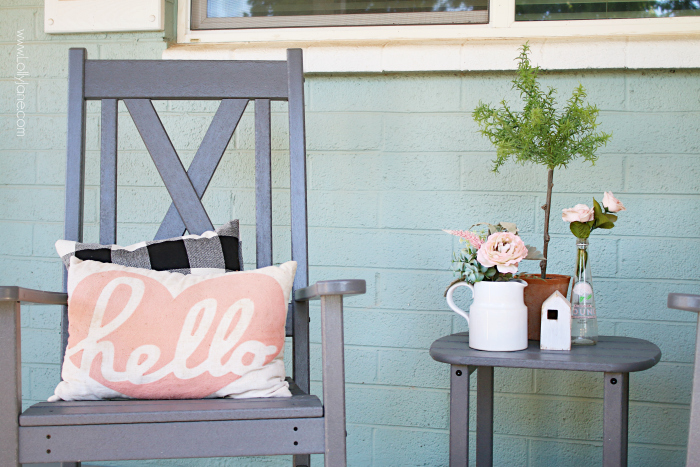 Enjoy the outdoors in comfort with a new rocking chair for your porch. Plus, it's durable and made from recycled products so you'll feel good while being comfortable and stylish! #outdoorrockingchair #outdoordecor #porchfurniture