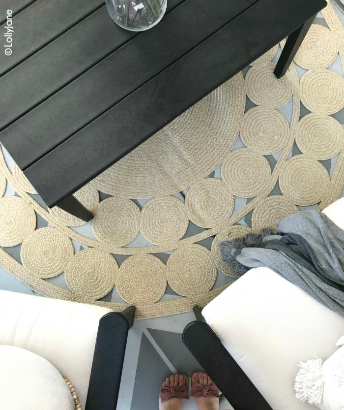 Loving this Polywood Vineyard porch furniture. Cutest farmhouse decor on this round jute rug and painted concrete. #paintedconcrete #roundrug #juterug #farmhousedecor #polywoodvineyard #polywood #durablefurniture #porchdecor #outdoorfurnitureideas