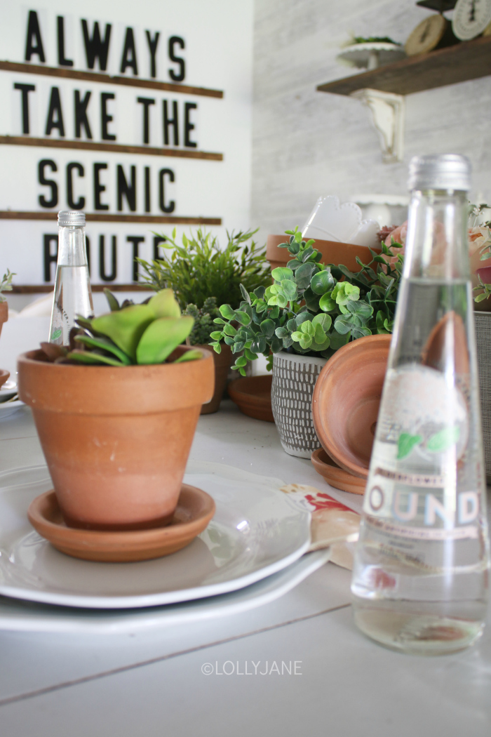 Loving this succulent table centerpiece to create pretty summer table decorations without spending a lot of money. Love this summer decor using a handful of natural terracotta pots and faux succulents. #summerdeocor #summertabledeocor #summertabledecorations #summercenterpieces #summertablescapes