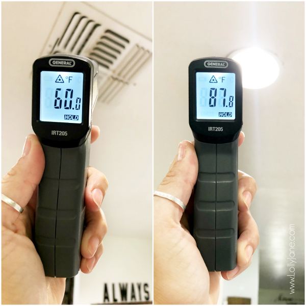 Check out this easy to use infrared thermometer tool, keep it in your must have homeowner tool kit! #infraredthermometer #heatsensorthermometer #easytousethermometer #musthavehomeownertools #easytousetools