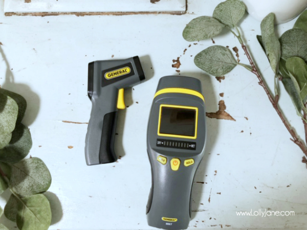 These General tools are must haves in your toolbox: an infared thermometer and pinless moisture meter: prevent flooding and leaky windows to save money! #homeownertips #musthavetools #musthavetoolsforhomeowners #generaltools