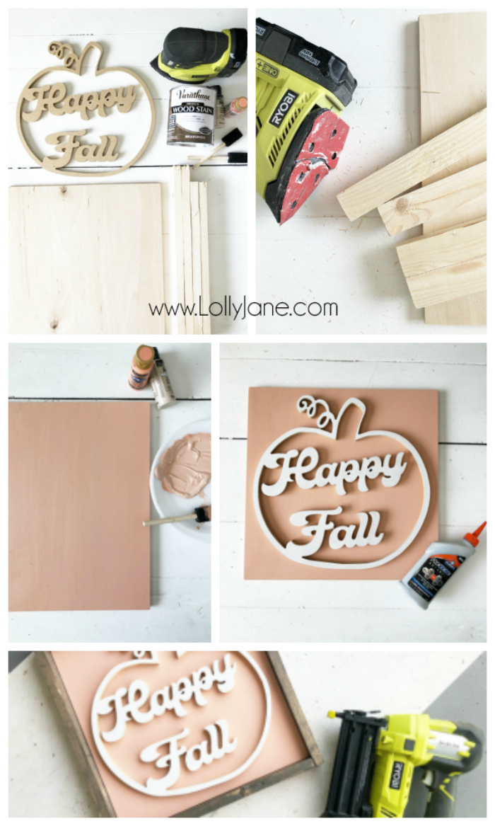 Love this pumpkin happy fall wood cutout sign! SO CUTE! Such a fun way to decorate for fall with fresh colors. Learn to make this sign! #diyfallsign #happyfall #happyfallwoodsign #woodpumpkin #pumpkincutout #diysign #diyfallsign