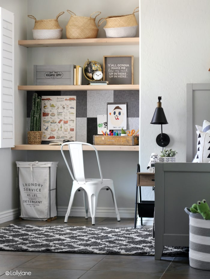 Whip up a modern farmhouse bulletin board in no time with the help of these versatile felt tiles-- just peel, stick, and hang! SO easy!