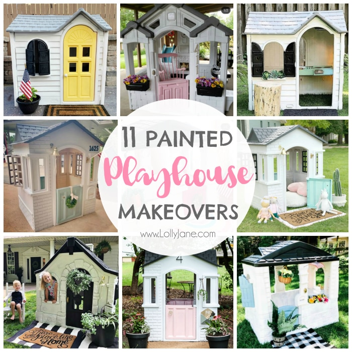 Did you know that you can paint a plastic playhouse? Check out these 11 must see painted playhouse makeover ideas. Warning: you'll want to move in yourself. #paintedplayhouse #playhousemakeover #playhousemakeoverideas #howtopaintplayhouse #littletikes #howtopaintplastic