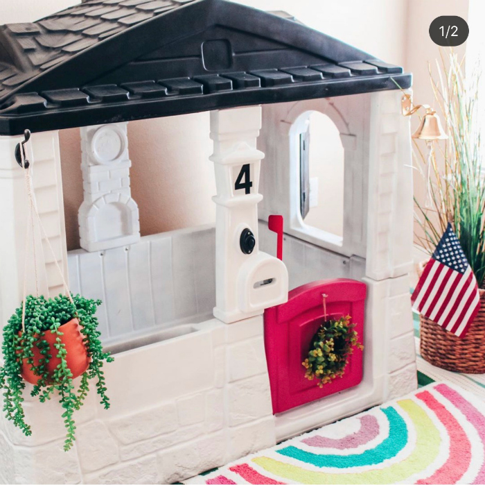 check out this colorful rainbow themed playhouse!! #rainbowplayhouse #diyplayhouseideas #remodelplayhouseideas #playhousemakeover #girlyplayhouseideas