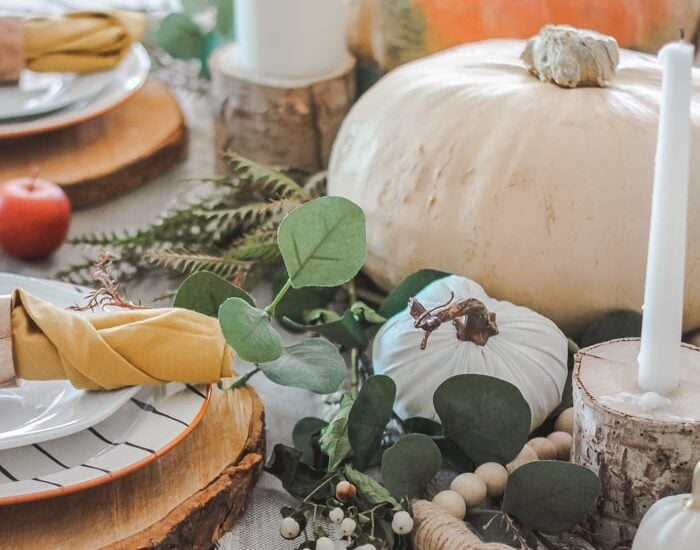 Affordable and EASY ideas to decorate your own table for fall! #falldecor #falldecoration #falldecorideas #tablescape#