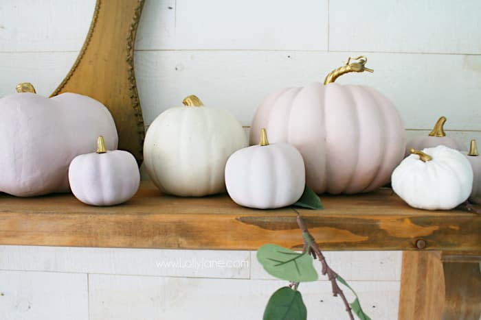 DIY chalk paint pink pumpkins fall decor. Love this easy to put together mantel with soft colors and non-traditional fall colors. #fall2019 #fallmantel #falldecor #falldecorations #pinkpumpkins #chalkpaintpumpkins