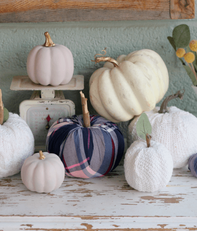 EASY Fall Craft! Use an old sweater or flannel to cover a pumpkin then add a stem for instant fall decor! #diy #falldecor #falldecorations #DIYpumpkin