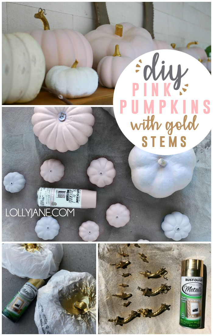 Is there anything cuter than pink pumpkins? Nope, there really isn't! Follow this easy DIY for painted pink pumpkins with glitter gold stems. Add a dozen or so to a mantle with eucalyptus leaves for a soft fall mantel decor look this season. #falldecor #pinkpumpkin #pinkpumpkins #paintedpinkpumpkins #howtospraypaintpumpkins #spraypaintedpumpkins
