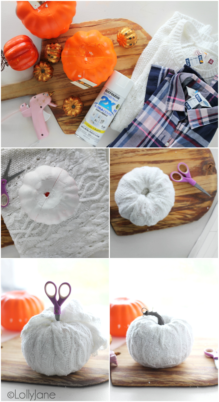 CUTE!!! Easy DIY Sweater + Flannel Pumpkins, so fun for fall! #diy #pumpkincraft #falldecor #falldecorations