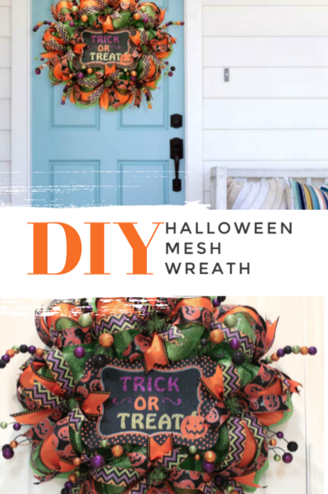 Easy mesh Halloween wreath tutorial using a wreath frame, ribbon, mesh and floral picks. #halloweentutorial #halloweenwreath #diywreath #diyhalloweenwreath #meshwreath