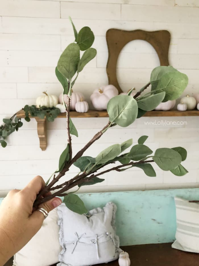 Looking for a natural fall mantel decor? Add greenery to compliment your white and pink pumpkins. Love these eucalyptus leaves paired with pumpkins for easy fall mantel decor. #falldecor #fallmantel #falldecorating #eucalyptusmantel #naturalmanteldecor