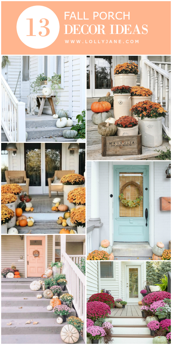 Check out these 15 fall decor porch ideas, lots of natural ways to decorate for fall with pretty pumpkins and mums and creative ways to style outdoor decor! Top fall porch decorations, must see! #falldecor #porchdecor #falldecorations #decoratingforfall