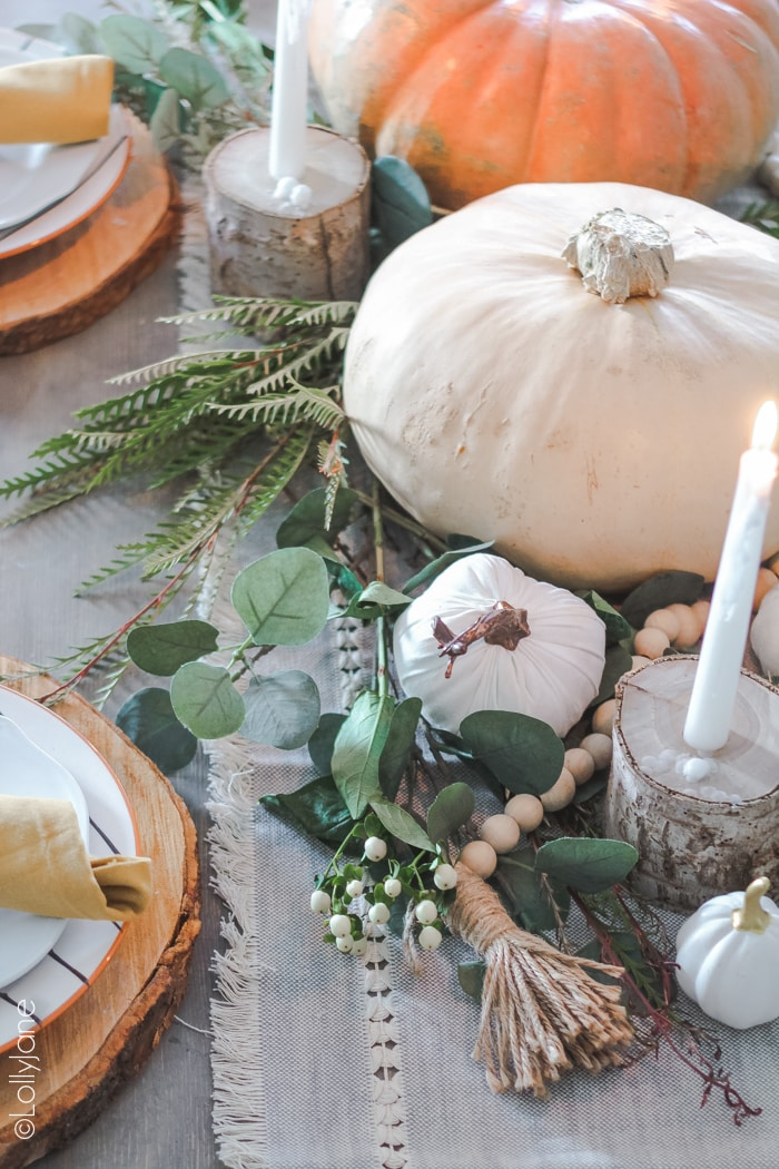 Decorate your table with fall items that don't cost an arm and a leg! #falldecor #falldecoration #falldecorideas #tablescape
