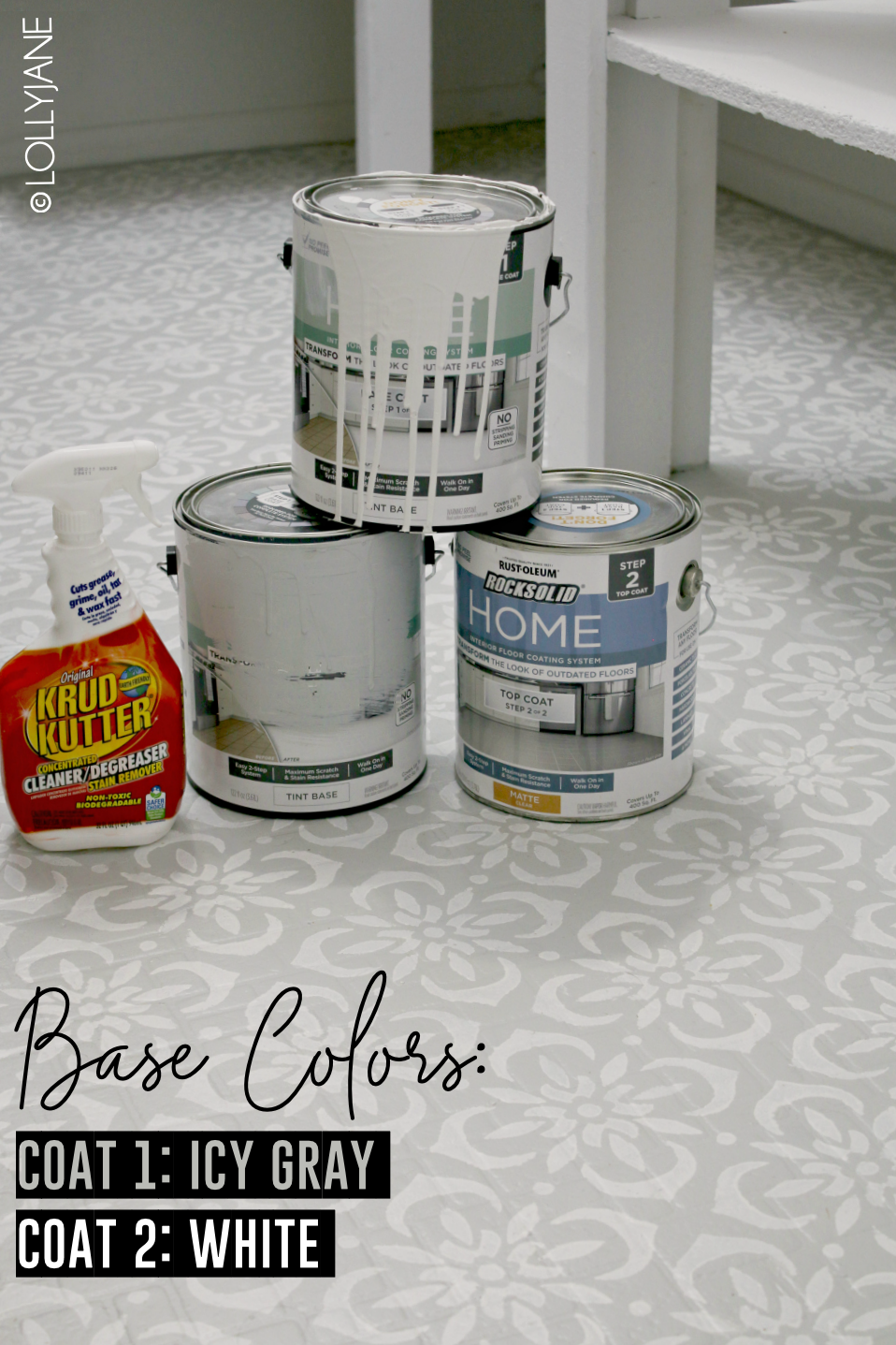 Hate your floors? Learn how to PAINT them in a day! What a transformation this space is, wow! #stencilfloors #diy