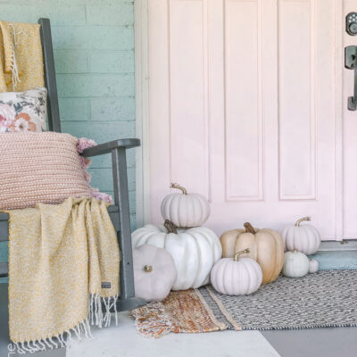 pink fall porch decor