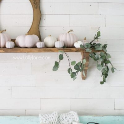 DIY Pink Pumpkins | Fall Mantel Decor