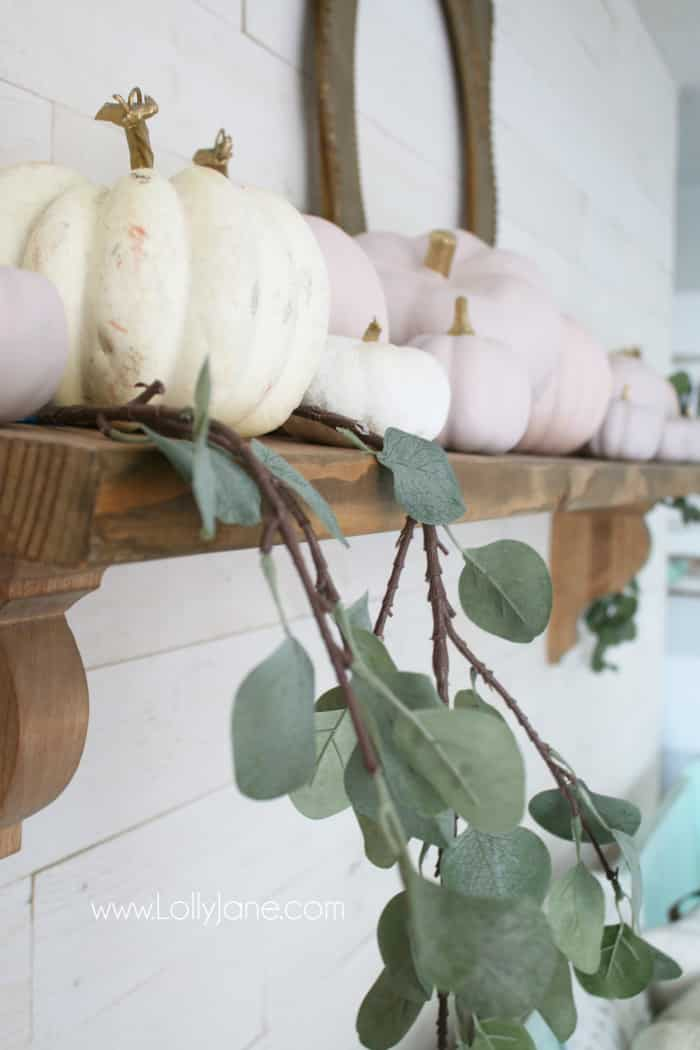 Forget traditional fall colors: try your hand with DIY pink pumpkins for a fresh fall mantel decor this year! Create this look with a little chalk paint and faux eucalyptus leaves to welcome this fall season. #pinkpumpkins #chalkpumpkins #diypumpkins #fallmantel #falldecor #pinkfalldecor