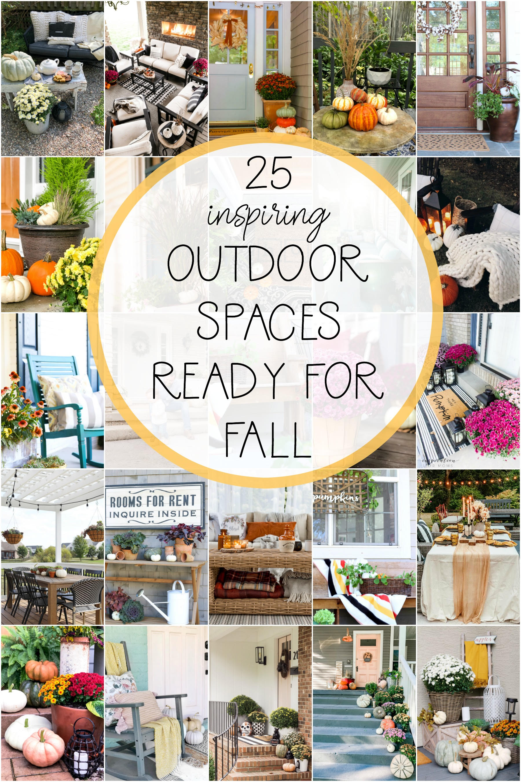 25+ Stylish outdoor spaces decked out for fall, so pretty! #fall #falldecor #fallporch #falldecorations