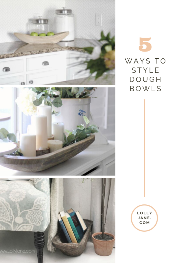 Have you seen the dough bowl trend and wondered what you'd do with one? Discover 5 ways to decorate with antique dough bowls in home decor, easy ways to style it around your own home. #doughbowl #vintagedoughbowl #howtousedoughbowl #howtostyledoughbowl #doughbowlhomedecor