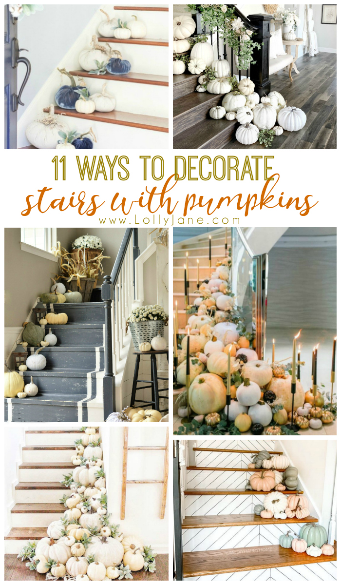 11 ways to decorate stairs with pumpkins! Get inspired this fall season with lots of ways to spruce up your stairs and welcome guests into your home. #pumpkindecor #waystodecoratestairsforfall #pumpkindecoratingideas #stairfalldecor #falldecorations