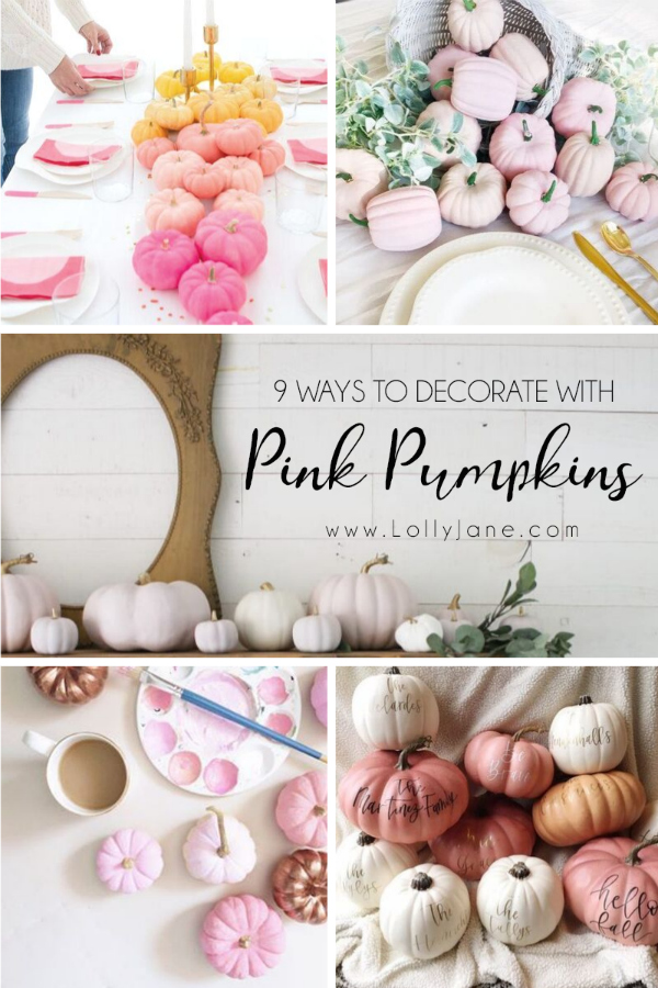So many cute ways to decorate with pink pumpkins for pretty fall decor! #pinkpumpkins #falldecorideas #pinkpumpkinsfalldecor #falldecorideas