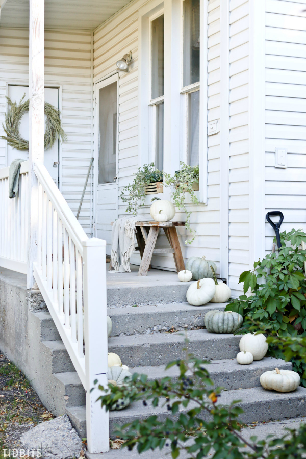 Love these white and green pumpkins that make beautiful natural fall porch decorations. #oudoorfalldecor #porchdecorations #whitegreenpumpkins #naturalfalldecor #falldecor #falldecoations #fallporchdecorideas