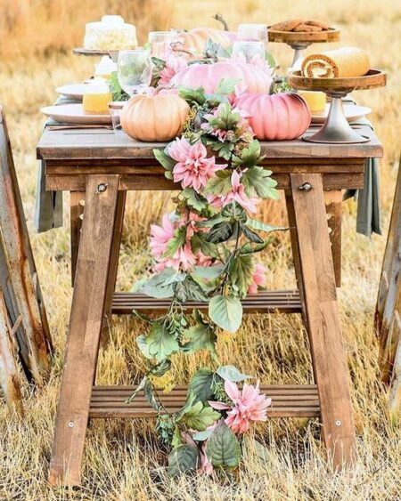 This Pink pumpkin decor display is the cutest ever !! #pinkpumpkindecor #decor #falldecor #pinkhomedecor #porchdecor