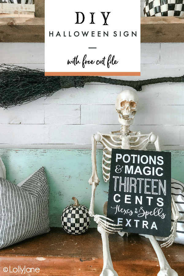 Love to DIY? This one is SO easy and we do most of the work for you! Just print our FREE cut file and whip up this spooky sign to instantly spruce up your Halloween space! #halloween #halloweendecor #halloweendecorations #halloweensign #handmadehalloween