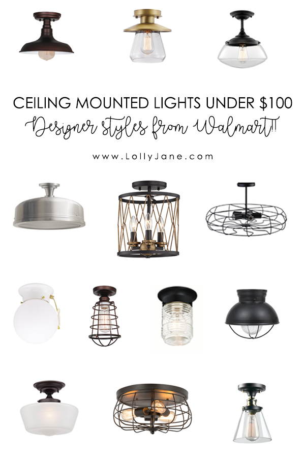 Check out these ceiling mounted lights under $100! 13 designer style flush mounted lights from Walmart!! Love these pretty lights for any home decor style! #ceilingmountedlights #affordablelighting #lightingsolutions #ceilinglights #flushlights #flushmountedlights #farmhouselighting #modernlighting #industriallighting #affordablelighting