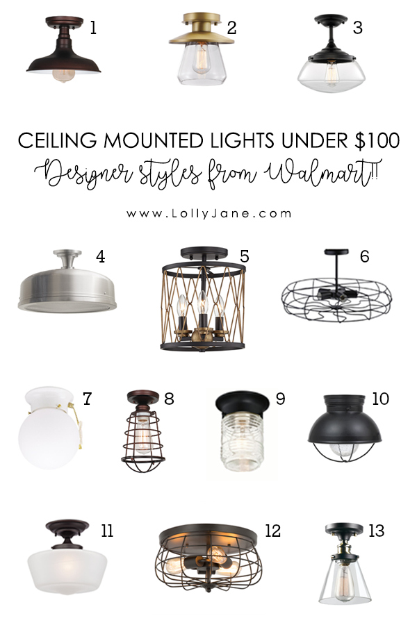 13 Affordable Ceiling Mounted Lights for Any Style! Check out these pretty flush mount lights! Designer style without breaking the bank, can you believe these are from Walmart? #designerlighting #affordablelighting #ceilingmountedlights #flushmountlighting #farmhouselighting #modernlights #farmhousedecor #industrialdecor