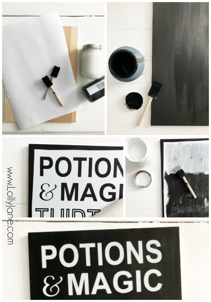 DIY Potions Halloween Sign | Learn to make this fun Halloween sign with wood paint and a stencil. Such a cute Halloween sign, perfect Halloween decor that's affordable! #halloweendecor #halloweensign #potionsandmagicsign #halloweenpotionssign #halloweendiywoodsign