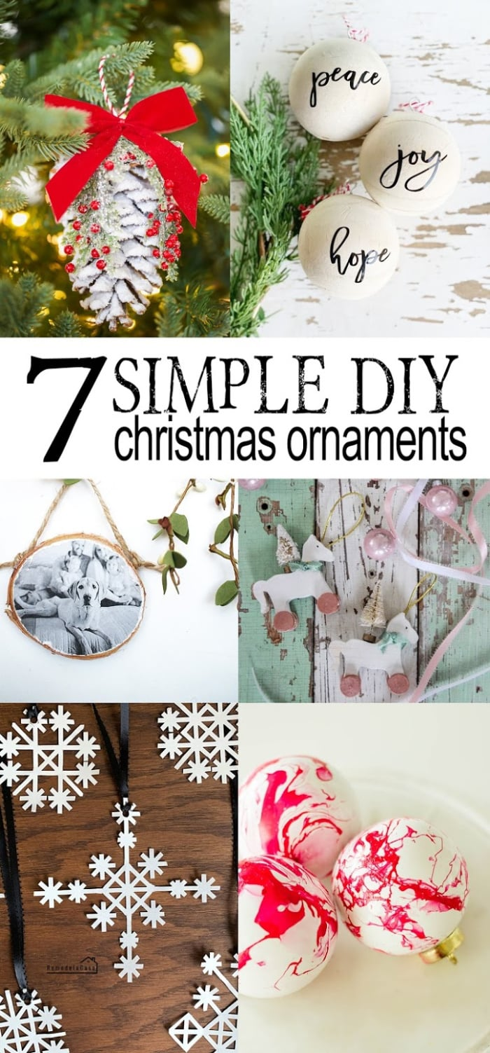 Check out these 7 DIY Christmas ornaments to welcome this holiday season! Lots of new handmade ornaments for 2019, add one or 2 to your own tree to spice up this Christmas! #handmade #handmadechristmas #diychristmas #easytomakeornaments #handmadeornamentideas #diychristmasornaments
