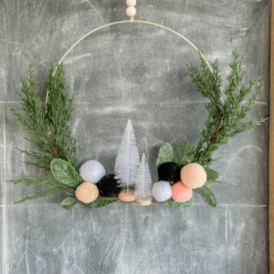 Christmas Pom Pom Hoop Wreath