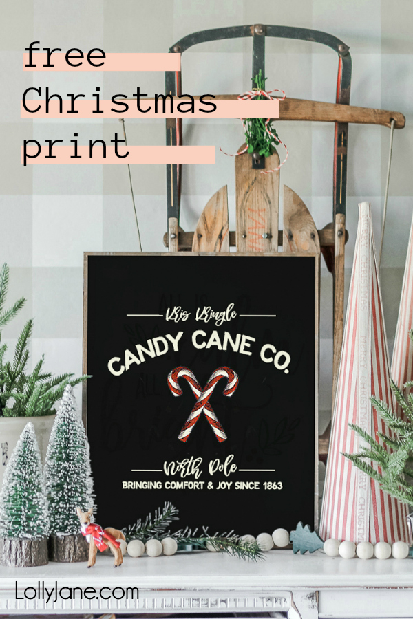 "FREE Christmas Art, so cute!! Just print and display this darling ""Kris Kringle Candy Cane Co.""  on your mantel, use as a card, or making into a bunting! #freeprintable #christmasdecor #christmasdecoration #candycane #christmasart #christmasprintable"
