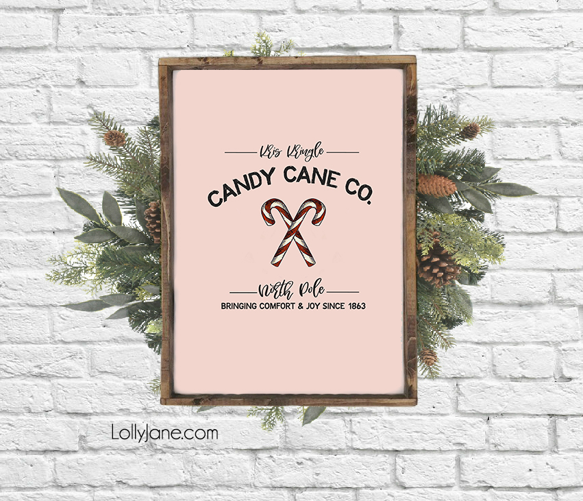 "Cutest ever (and FREE!) Christmas printable ""Kristi Kringle Candy Cane Co"" to display around the holidays... put on your mantel, use as a card, or make into a bunting! #freeprintable #christmasdecor #christmasdecoration #candycane #christmasart #christmasprintable"