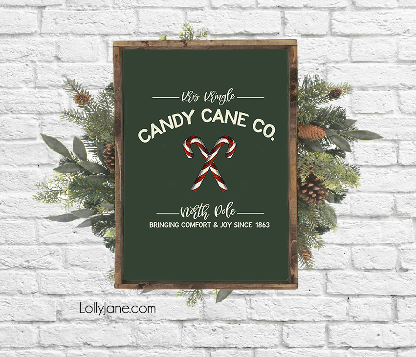 "Darling FREE ""Kris Kringle Candy Cane Co."" printable art to display on your mantel, use as a card, or making into a bunting! #freeprintable #christmasdecor #christmasdecoration #candycane #christmasart #christmasprintable"